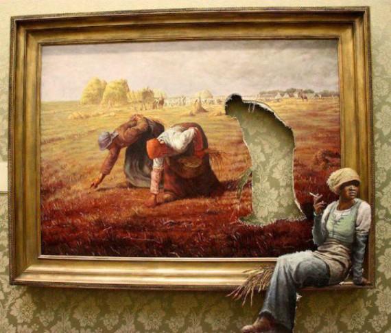 Beau détournement de l'oeuvre de Millet. L'angelus sonne l'heure de la libération… On peut rêver, non ?