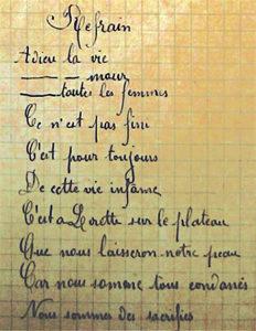 Centenaire de l'Armistice. Chanson de Craonne, carnet d'un poilu retrouvé dans les tranchées.