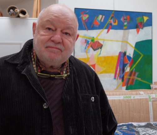 Daniel Humair dans son atelier parisien.(5/02/2015) © Photos G.P.